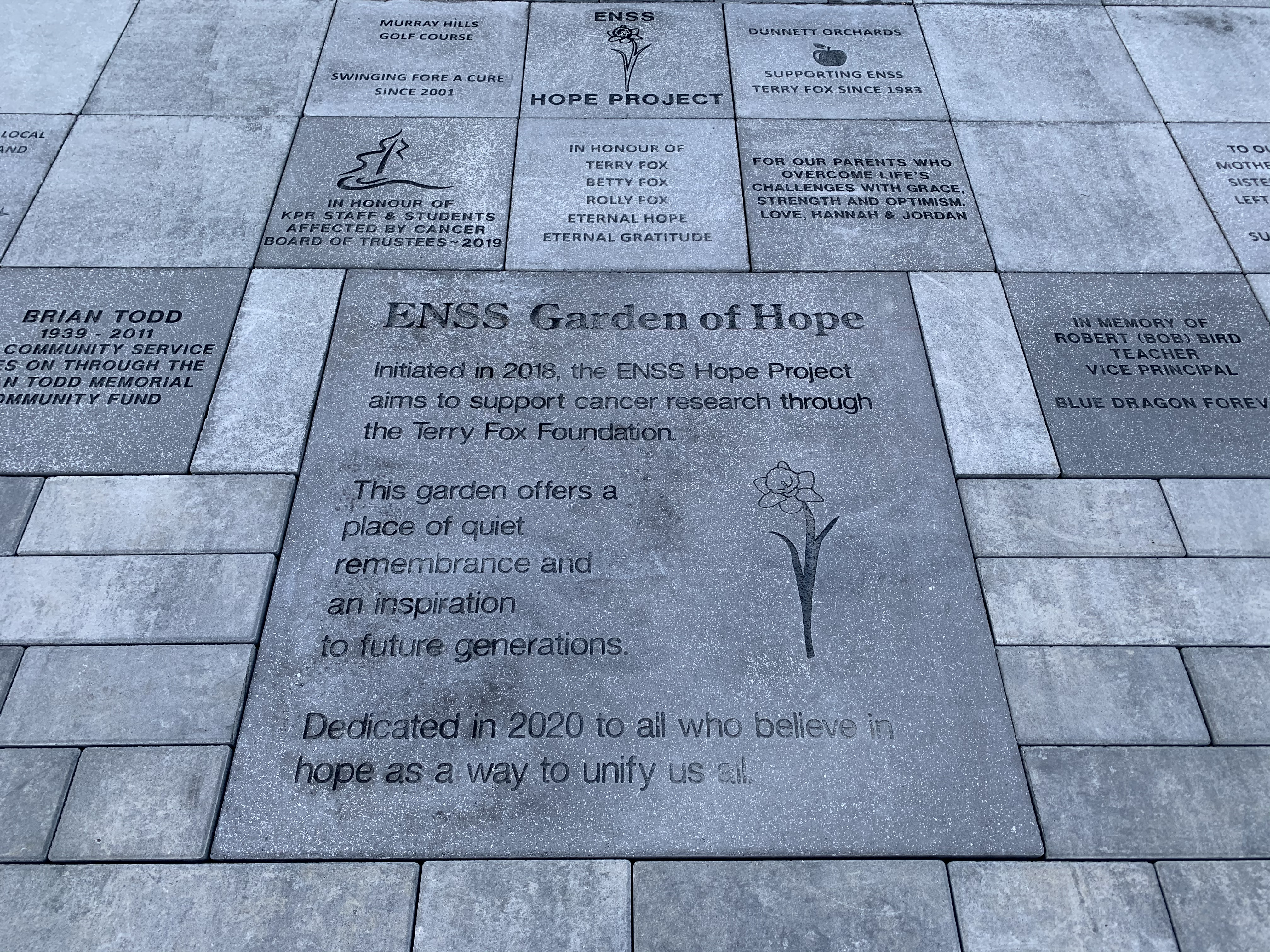 Hope project dedication stone